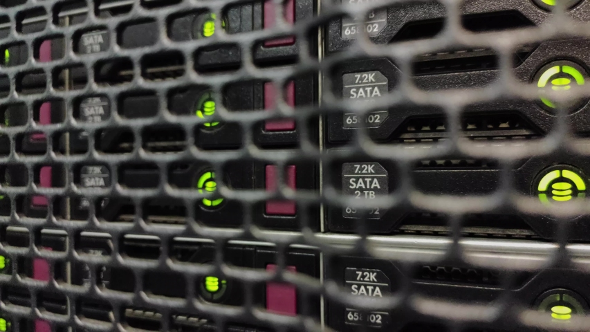 Network Server Rack Panel hard disk. This video contains noise. | Shutterstock HD Video #1038905519