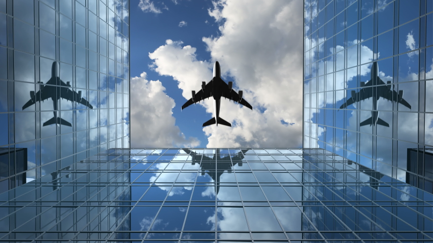 Airplane Flies in the Reflections on the Office Buildings Against a Time-Lapse Clouds Background, 3d Animation 4k, Ultra HD 3840x2160 | Shutterstock HD Video #1038989129