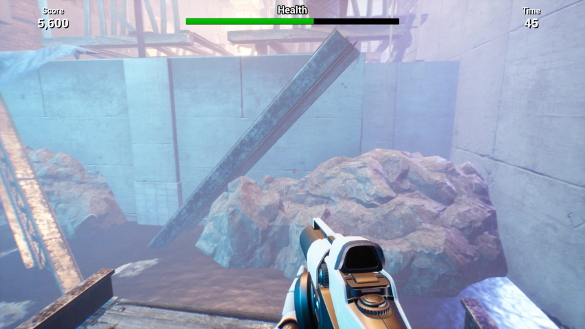 First person shooter video game imitation. Walkthrough and shooting with weapon in abandoned area with glowing elements. Score, health, time indicators are in top of computer screen | Shutterstock HD Video #1039012049