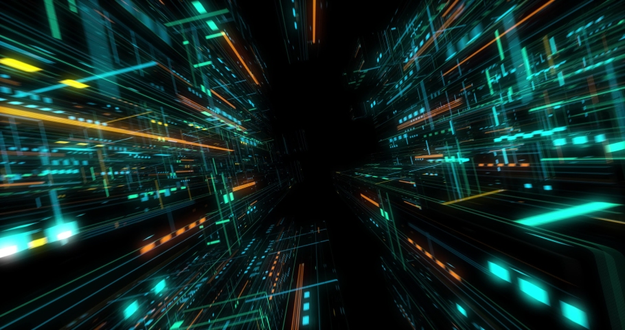 Seamless fly through of abstract circuitry with digital grid background, Data deep learning computer machine. AI artificial intelligence and ML machine learning concept. loop, 3D render | Shutterstock HD Video #1039053179