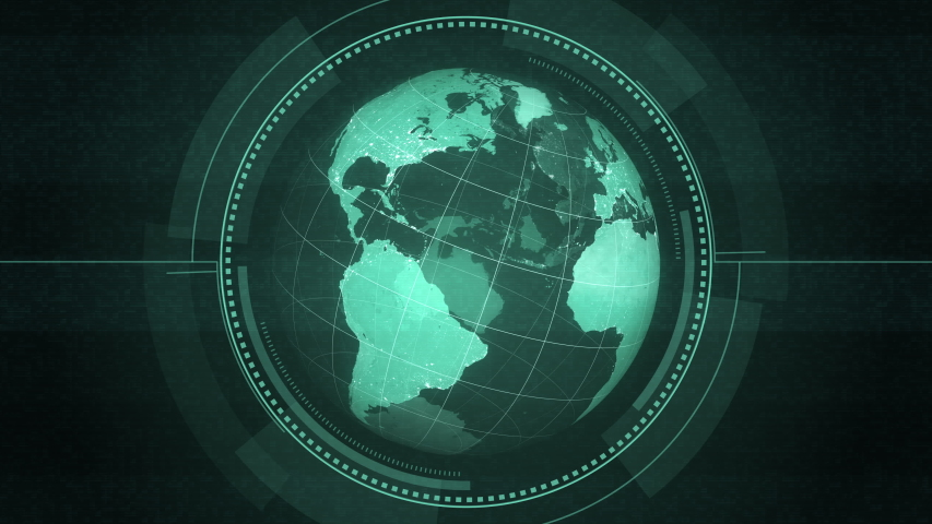 Computer Hud Earth Globe with Interference | Shutterstock HD Video #1039053659
