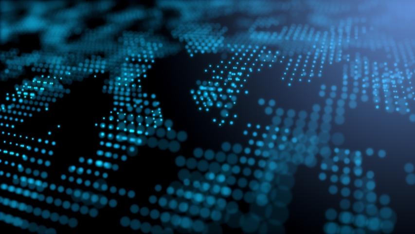Blue futuristic stream Data Communication flying into digital technologic animation 3D rendering | Shutterstock HD Video #1039201919
