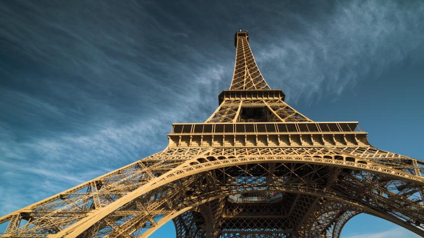 Hyper lapse, Eiffel tower, Paris. France | Shutterstock HD Video #1039297799