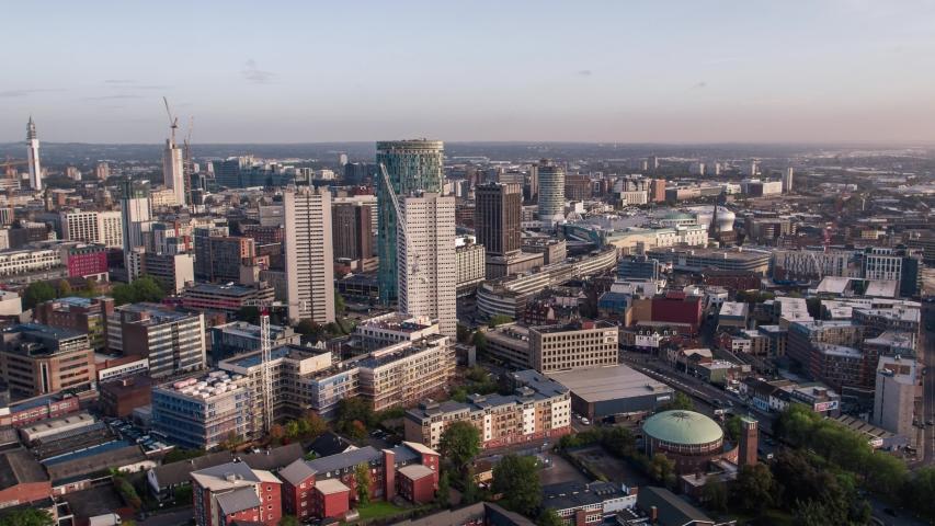 Establishing Aerial View of Birmingham, England, United Kingdom | Shutterstock HD Video #1039548179
