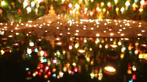 Floating candle on water in Loy Krathong Festival, Chaing Mai, Thailand