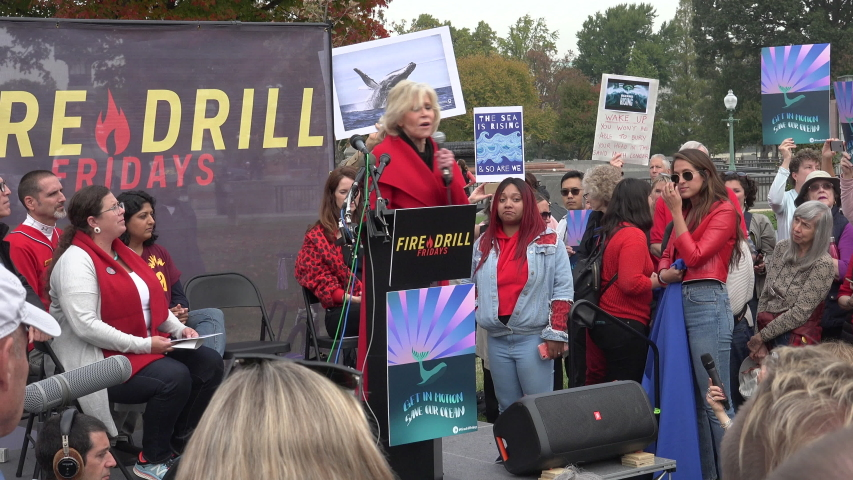 WASHINGTON, DC - Oct. 25, 2019: Jane Fonda speaks at Fire Drill Friday protest at U.S. Capitol demanding government action on climate change, imploring all to put their bodies on the line.