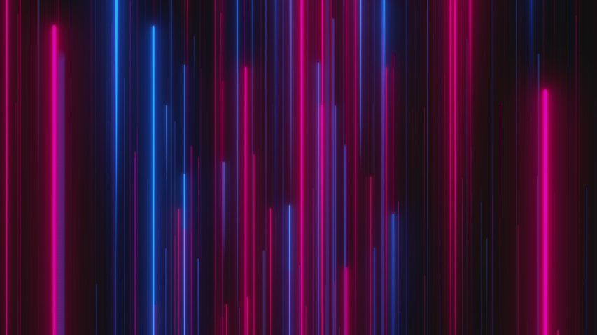 Looped animation. Abstract background with bright beams in red and blue color moving up. Modern colorful wallpaper. 3d rendering. | Shutterstock HD Video #1039835249
