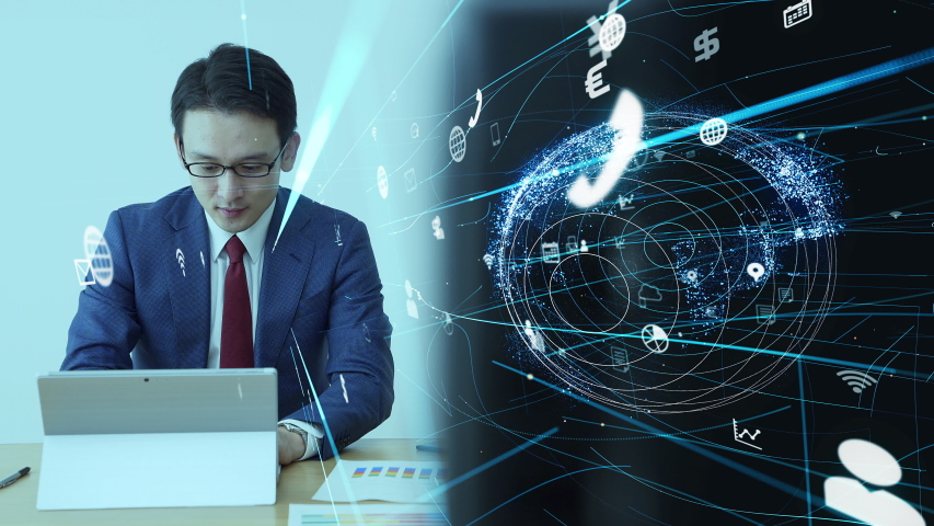Business and technology concept. Communication network. | Shutterstock HD Video #1040430449