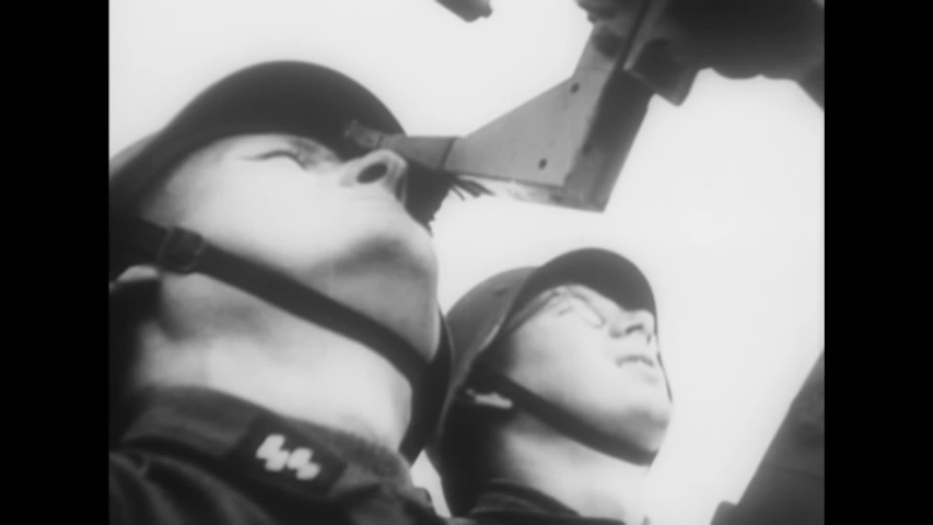 CIRCA 1940s - Nazi soldiers defeat a tank battalion and battle Ally airplanes during World War 2 in this German propaganda film