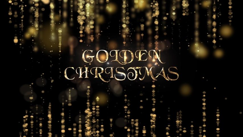 Wishing You A Golden Christmas 4K Loop features gold metallic text with strings of golden beads hanging down against a black background  | Shutterstock HD Video #1040728799