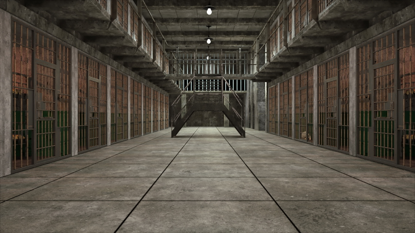 Computer generated backdrop. Several empty gloomy prison blocks on two floors. 3d rendering #1040776889