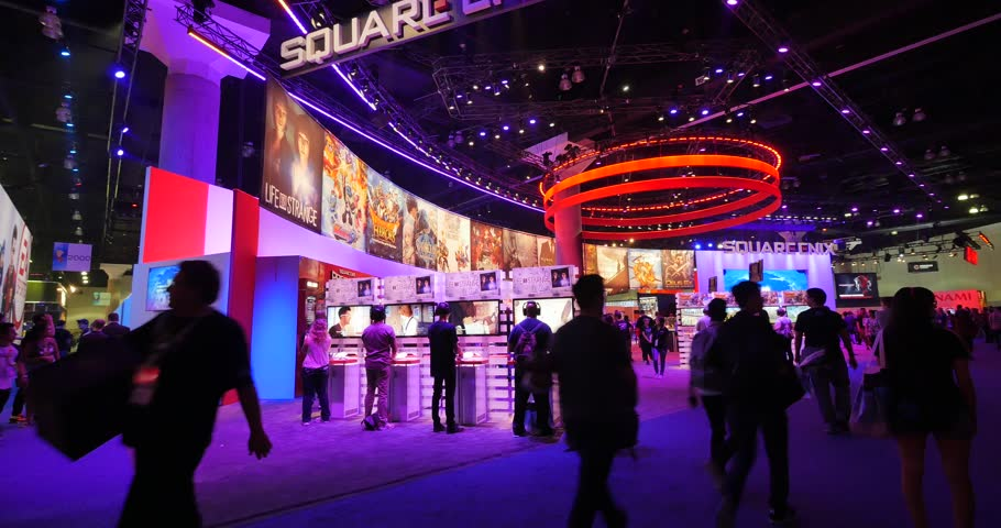 LOS ANGELES - June 16, 2015: Square Enix booth at the E3 2015 expo in Convention Center. Electronic Entertainment Expo, commonly known as E3, is an annual trade fair for the video game industry.