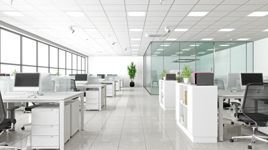 Modern Corporate Work space. Open Office And Board Room - 3d Rendering #1040819849