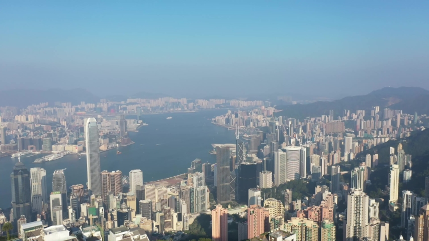 09 Oct 2019, View from Victoria Peak, a mountain in the western half of Hong Kong Island   Shutterstock HD Video #1040821229