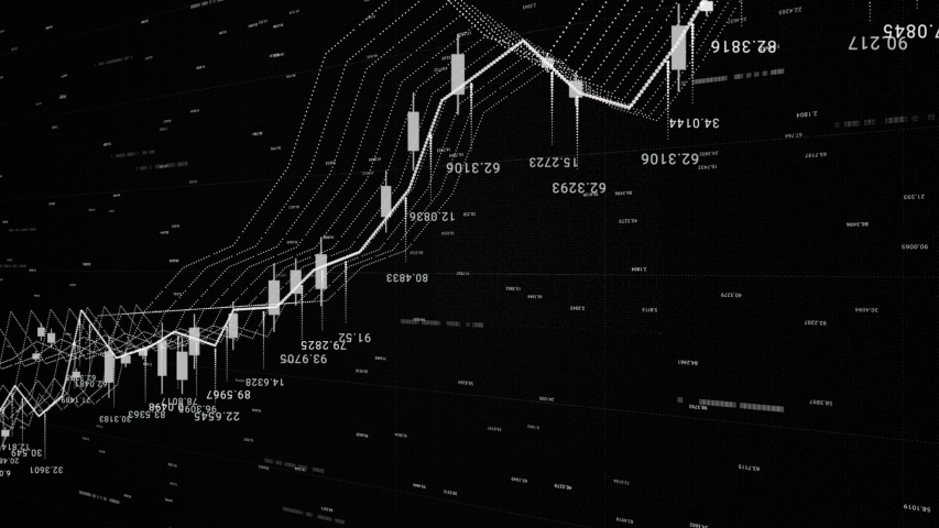 3d financial background with all the data and graphics, growth and decline, finance and economics concept. Animation. Monochrome financial chart background, stock market statistics on the screen. | Shutterstock HD Video #1040908109