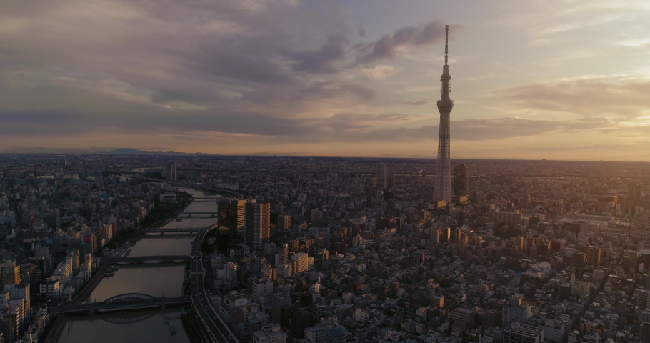 Aerial shot of Skytree and Tokyo cityscape at dawn, Japan | Shutterstock HD Video #1040928749