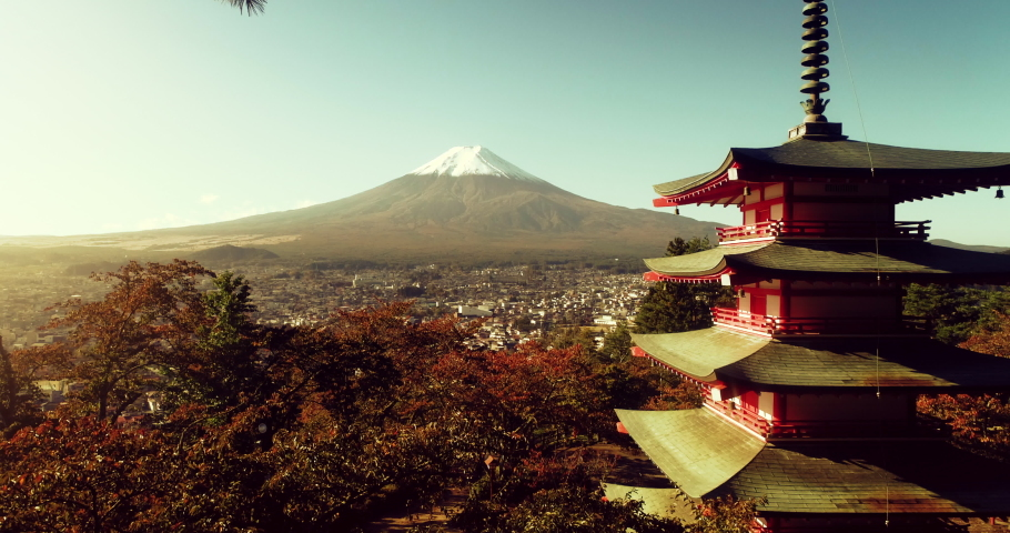 Aerial shot of Fujiyoshida, Japan at Chureito Pagoda and Mt. Fuji in the Autumn | Shutterstock HD Video #1040929409