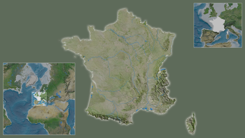 France area framed and extracted from the global satellite map in the van der Grinten I projection with animated oblique transformation | Shutterstock HD Video #1040959229