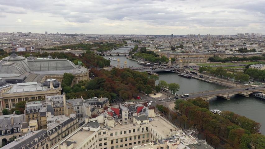 Paris skyline aerial with Seine river | Shutterstock HD Video #1040978819