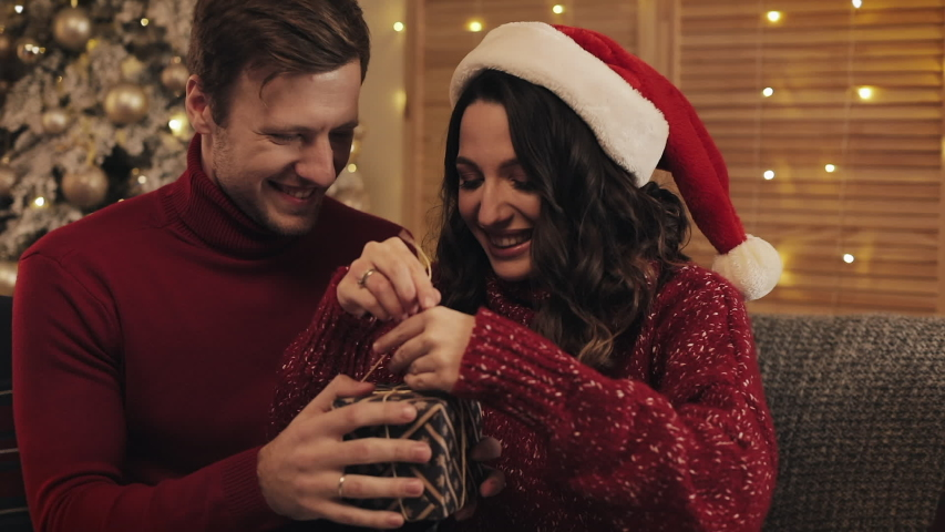 Handsome Husband Helping his Attractive Wife to Tied a Bow on a Present Box Sitting on the Couch near Christmas Tree at Home Background. Concept of Holidays and New Year | Shutterstock HD Video #1041460279
