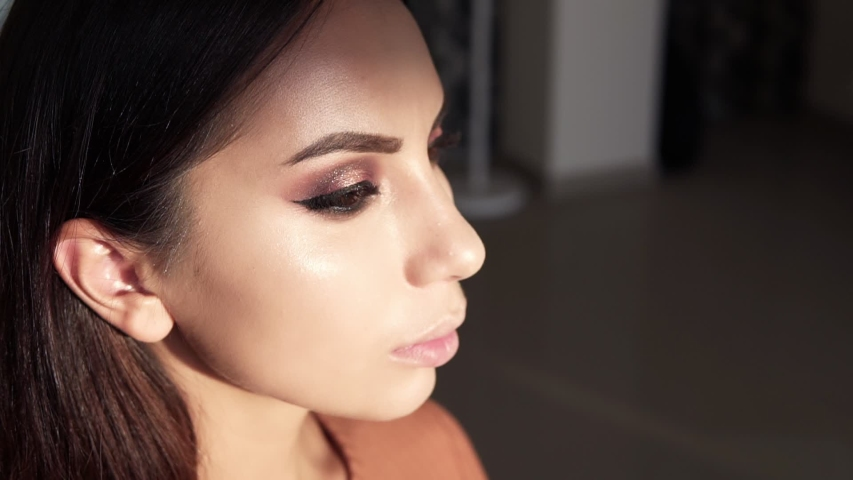 Make up artist applying highlight slightly using a big brush. Artist is applying to the face of the model close up finishing make up. Young girl model with beautiful brown eyes in studio. Side view | Shutterstock HD Video #1041475939