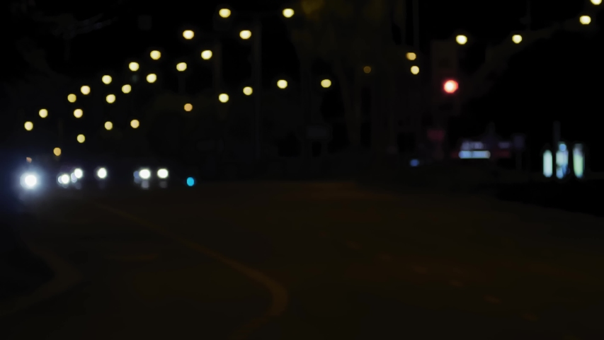 Night traffic on the road and moving cars. Blurred bokeh background for use as green screen background plate for interviews. Perfect for keying or compositing. | Shutterstock HD Video #1041571999