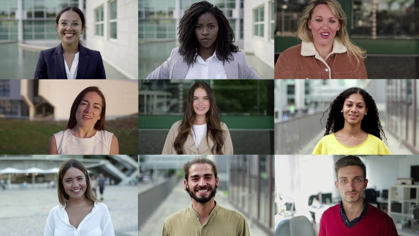 Confident citizens posing on city streets. Multiscreen montage, split screen collage. Ethnicity variation concept | Shutterstock HD Video #1041779659