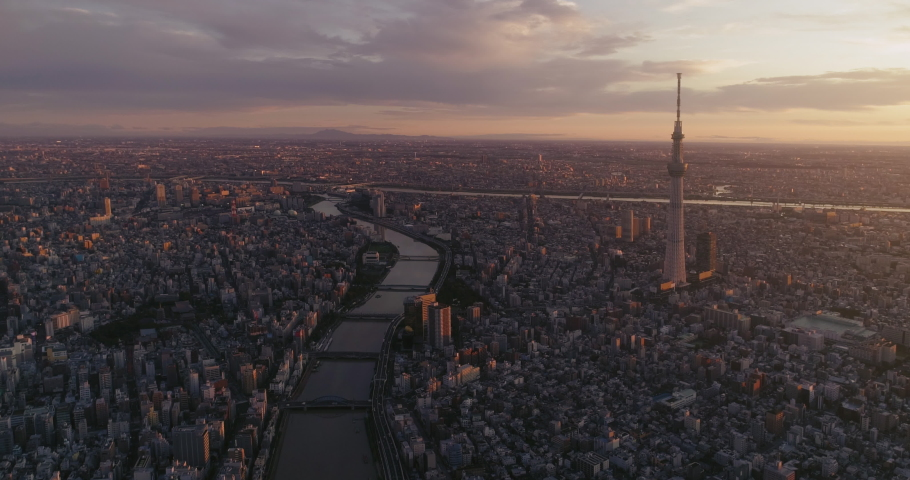 Aerial shot of Tokyo city at dawn, Japan | Shutterstock HD Video #1041914899