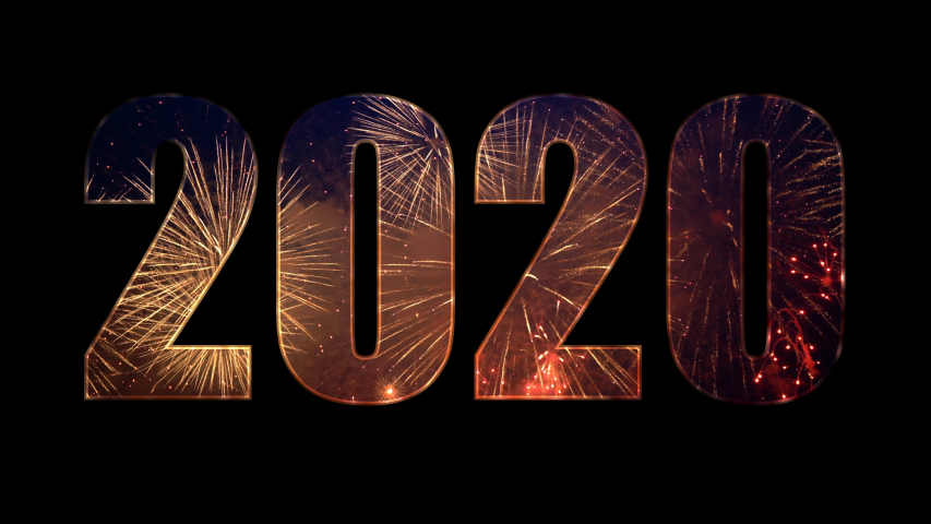 2020 from colorful fireworks with alpha. | Shutterstock HD Video #1042039939