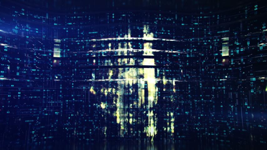 Blue hexadecimal big data digital code. Futuristic information technology concept. Shaking steady camera. Computer generated seamless loop 3D render animation | Shutterstock HD Video #1042135669