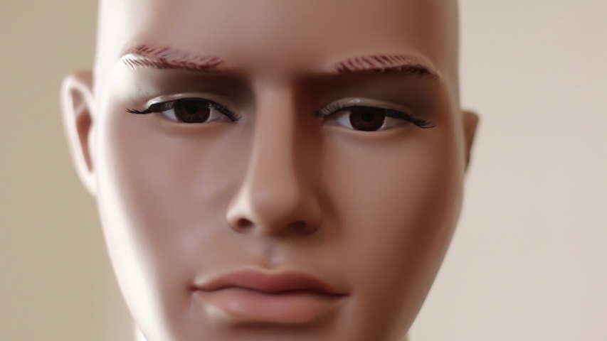 Face of a male mannequin - closeup view | Shutterstock HD Video #1042393159
