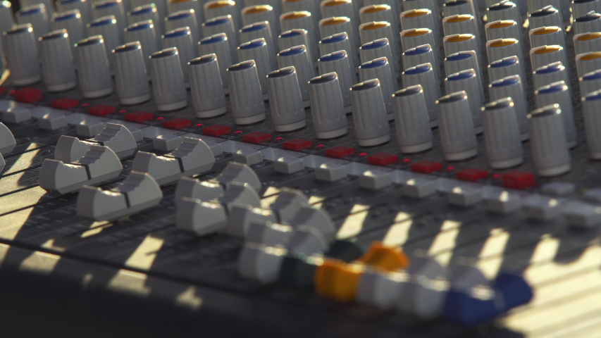 Audio sound mixer, slides and knobs, music equipment  | Shutterstock HD Video #1042539979