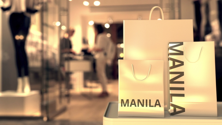Shopping bags with Manila text. Shopping in Philippines related 3D animation | Shutterstock HD Video #1042614859
