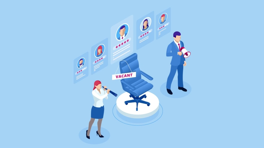 Isometric hiring and recruitment concept for web page, banner, presentation. Job interview, recruitment agency HD Video.   Shutterstock HD Video #1042714849