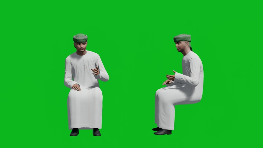 Arabic man in sitting pose , front view and side view, realistic 3D people rendering isolated on green screen. | Shutterstock HD Video #1042740529