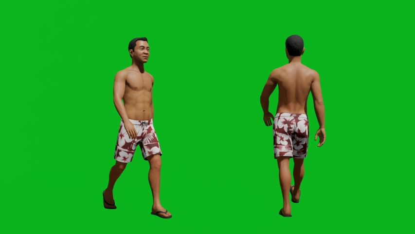Asian man with summer outfit walking in front view and side view, realistic 3D people rendering isolated on green screen. | Shutterstock HD Video #1042740559