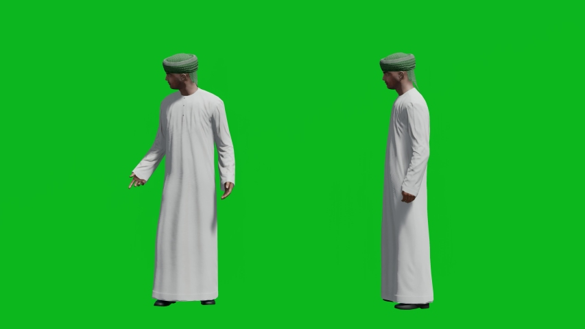 Arabic man standing in front view and side view, realistic 3D people rendering isolated on green screen. | Shutterstock HD Video #1042740589