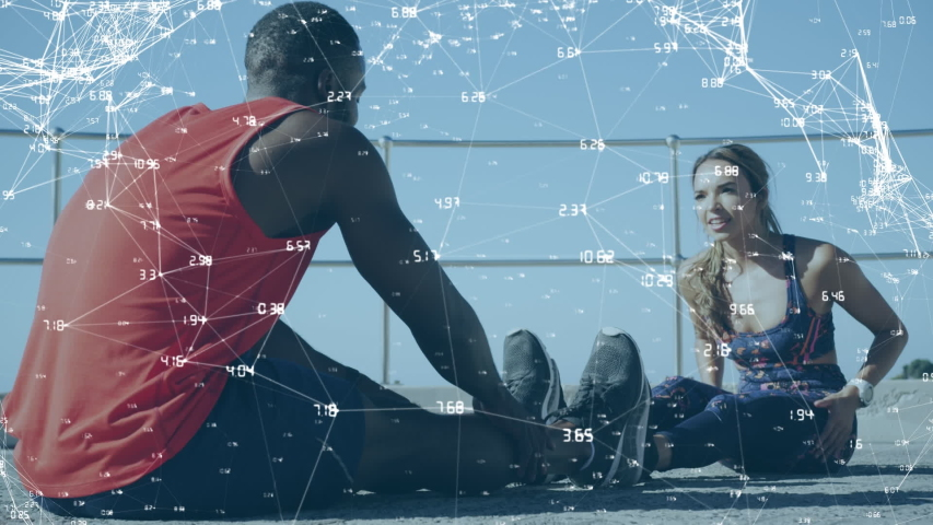 Animation of data processing with a young Caucasian woman and mixed race man stretching together in an urban park in the background | Shutterstock HD Video #1042804159