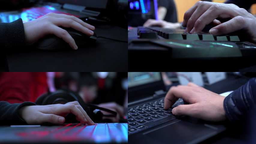 Gamer playing a computer game. Split screen. Programmer. Online shopping. Cyber monday. Hands on the keyboard. Keyboard with neon light. Esports. Championship in computer games. Computer parts.   Shutterstock HD Video #1042829779