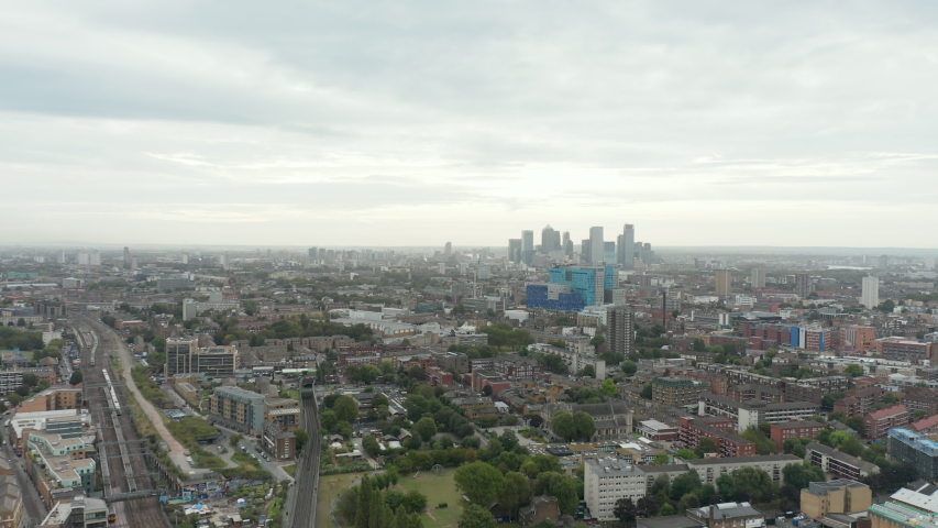 4k Aerial Scenic View Moving Over the City of London Heading Toward Canary Wharf | Shutterstock HD Video #1043046739