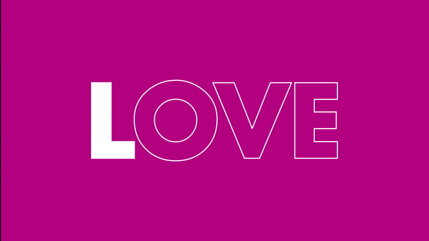 Valentine's day social media message. Love animated text grows from skinny to bold with pop pinks and purple colors in the background.   | Shutterstock HD Video #1043265979