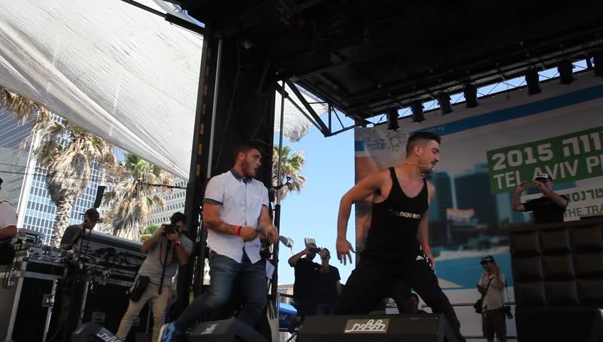 TEL AVIV, ISRAEL - JUNE 12, 2015: Nadav Guedj performs 'Golden Boy', Eurovision Song Contest 2015 Second Semi-Final (IBA), during the Gay Pride Parade Festival in Tel Aviv.