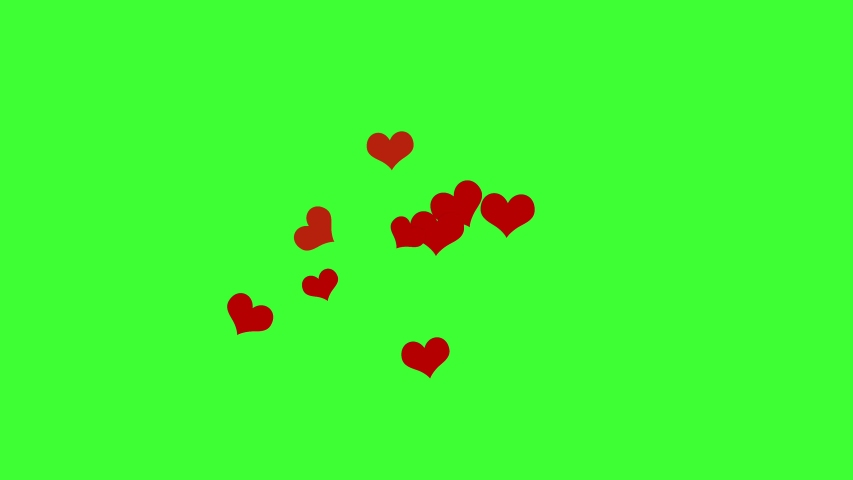 Social media Love Hearts icons animation rise from bottom to top on green screen. Good for marketing concept or short video background for social networks story.