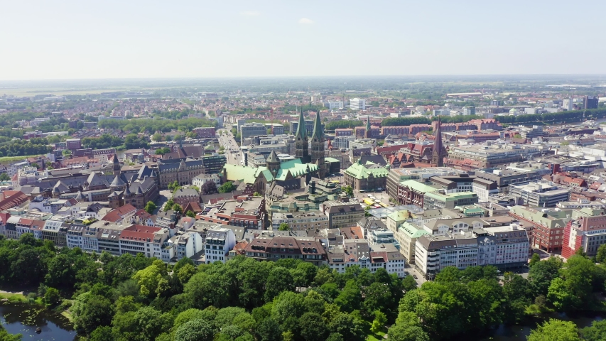 Bremen, Germany. The historic part of Bremen, the old town. Bremen Cathedral ( St. Petri Dom Bremen ). View in flight, Aerial View, Point of interest