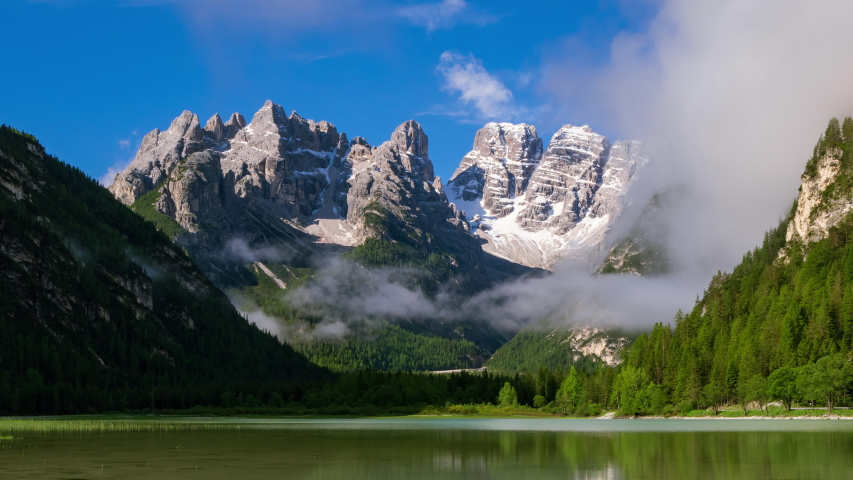 4K Time lapse Lago di Landro Lake in the Dolomites, South Tyrol, Italy, Europe | Shutterstock HD Video #1044389329