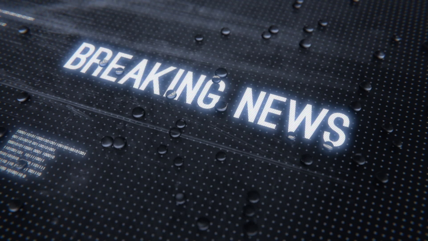 Breaking news text banner intro outro. Breaking news rainy glass title reveal animation.    Shutterstock HD Video #1044477439