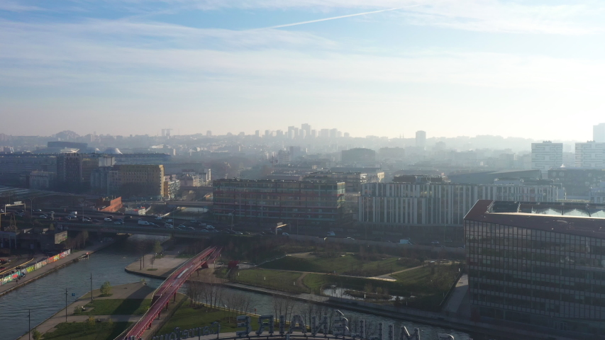 Aubervilliers aerial shot Paris traffic ring road sunny polluted day  | Shutterstock HD Video #1044664129