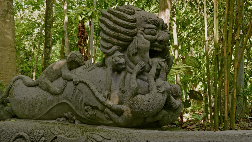 Statues at monkey forest at Ubud, Bali | Shutterstock HD Video #1044792679