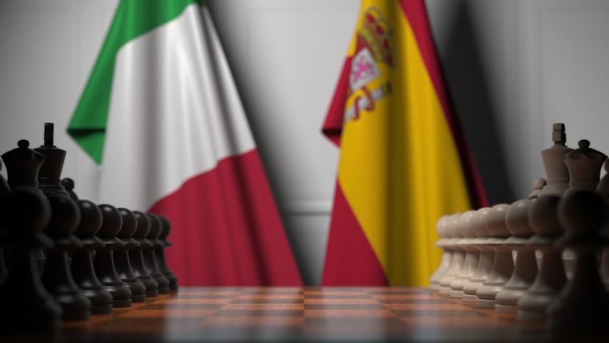 Chess game against flags of Italy and Spain. Political competition related 3D animation   Shutterstock HD Video #1044830989