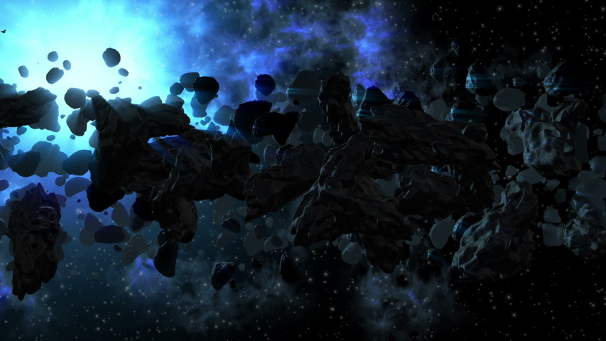 Asteroid field spinning around a blue star glow with a dying re planet for animated space backgrounds   Shutterstock HD Video #1044851059